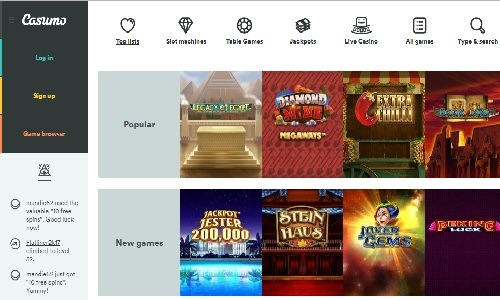 Casumo Casino screenshot