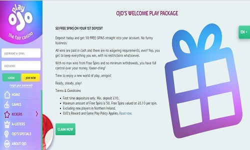 Play OJO Casino screenshot